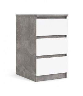 Naia Bedside - 3 Drawers in Concrete and White High Gloss (76237gxuu)
