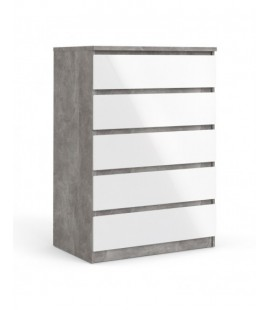 Naia Chest of 5 Drawers in Concrete and White High Gloss (76231gxuu)