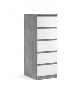 Naia Narrow Chest of 5 Drawers in Concrete and White High Gloss (76233gxuu)