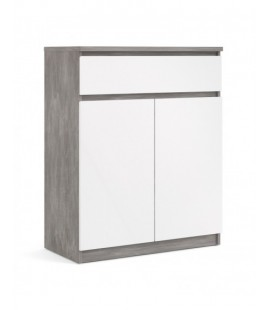 Naia Sideboard - 1 Drawer 2 Doors in Concrete and White High Gloss (76234gxuu)