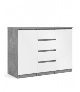 Naia Sideboard - 4 Drawers 2 Doors in Concrete and White High Gloss (76236gxuu)