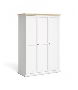 Paris Wardrobe with 3 Doors in White and Oak (7535349ak)