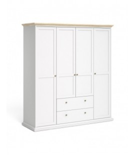 Paris Wardrobe with 4 Doors & 2 Drawers in White and Oak (7536949ak)
