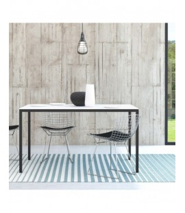 Family Dining Table 140cm White Table Top with Black Legs (75470/024960)