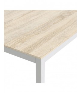Family Dining Table 140cm Oak Table Top with White Legs (75470/02ak49)