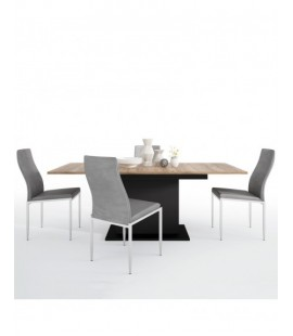 Dining set package Brolo Extending Dining Table + 4 Milan High Back Chair Grey. (4347553/5010153)