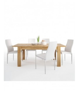 Dining set package Cortina Extending dining table in Grandson Oak + 4 Milan High Back Chair White. (4327556/5010101)