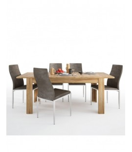 Dining set package Cortina Extending dining table in Grandson Oak + 4 Milan High Back Chair Dark Brown. (4327556/5010111)