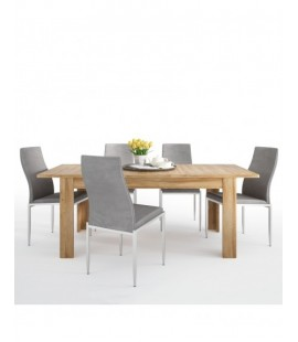 Dining set package Cortina Extending dining table in Grandson Oak + 4 Milan High Back Chair Grey. (4327556/5010153)