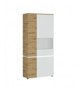 Luci 4 door tall display cabinet RH (including LED lighting) in White and Oak (6000000008969)