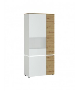 Luci 4 door tall display cabinet LH (including LED lighting) in White and Oak (6000000007968)