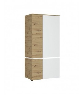 Luci 4 door wardrobe (including LED lighting) in White and Oak (6000000009455)