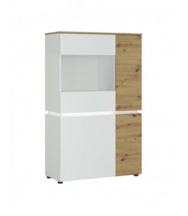 Luci 4 door low display cabinet (including LED lighting) in White and Oak (6000000007969)