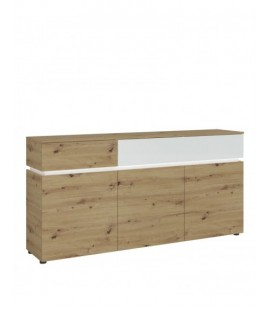 Luci 3 door 2 drawer sideboard (including LED lighting) in White and Oak (6000000007966)