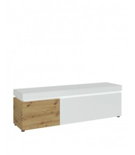 Luci 1 door 2 drawer 180 cm wide TV unit (including LED lighting) in White and Oak (6000000007964)