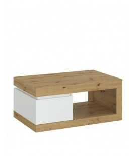 Luci 1 drawer coffee table in White and Oak (6000000008970)
